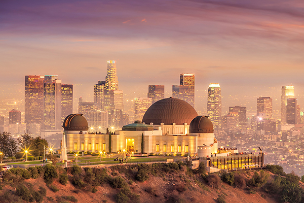 The Griffith Observatory And Los Angeles City Skyline At Twiligh